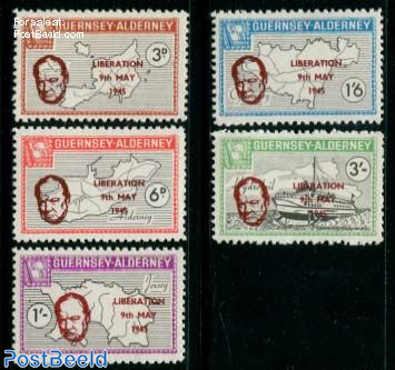 Commodore parcel stamps, Liberation 5v