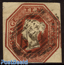 10p Redbrown, Queen Victoria
