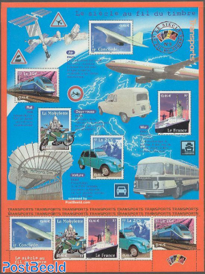 20th century, transports 2x5v in minisheet