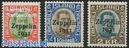 Zeppelin 1931 overprints 3v