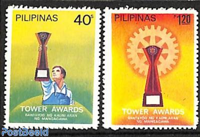 Rotary 2v, with wrong inscription MANGAGAWA and no white bar at bottom of stamps
